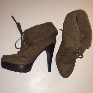 Heeled fur-lined booties